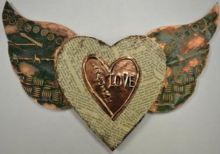 Heart with wings copper